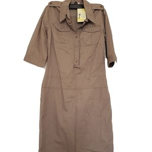NWT Free People Safari pencil Shirt-Dress khaki 2